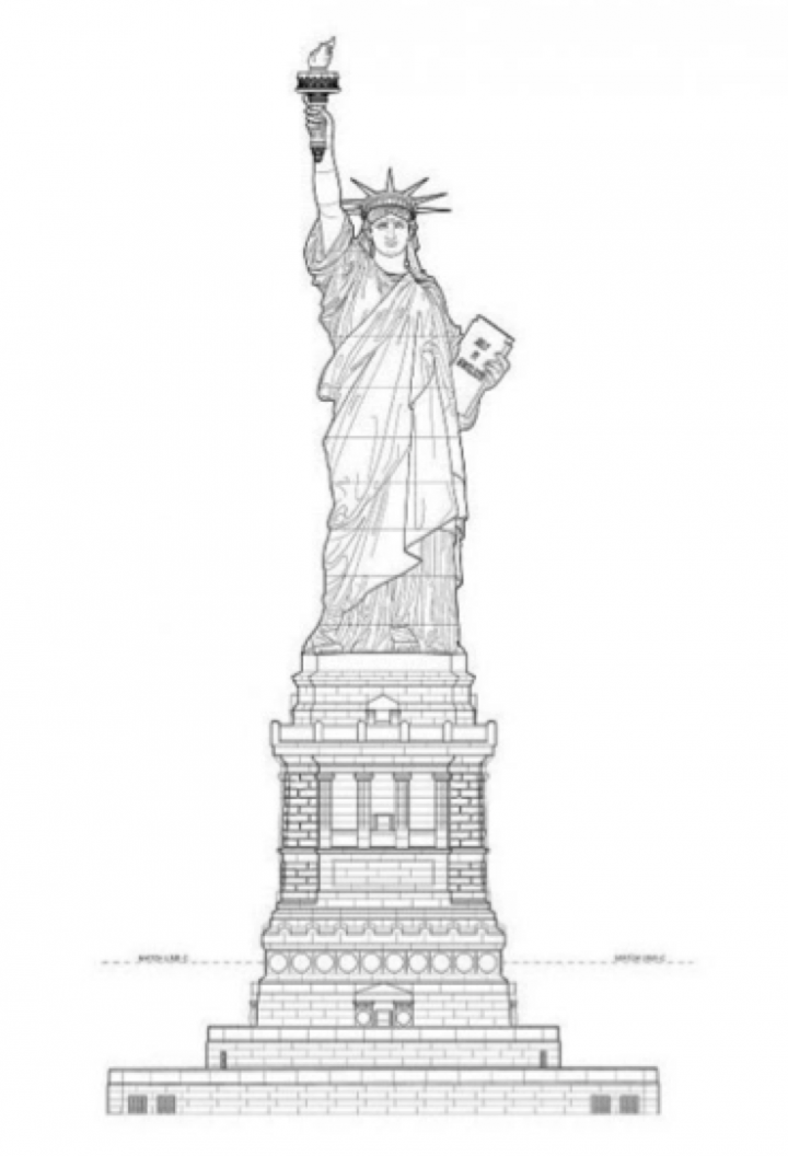 Statue de la Liberté, élévation du socle, Richard Morris Hunt, architecte, Liberty Island, New-York ©Library Of Congress, Washington Dc.
