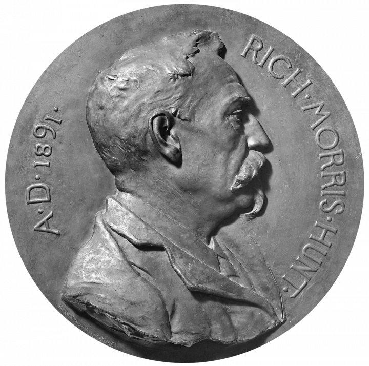 Karl Theodore Bitter, Richard Morris Hunt, sculpture, bronze, diam. 50.8 cm, 1891. Metropolitan Museum of Art, New-York – Don de la Erving Wolf Foundation